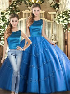 Amazing Blue Two Pieces Scoop Sleeveless Tulle Floor Length Lace Up Appliques Ball Gown Prom Dress