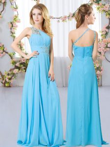 Floor Length Zipper Court Dresses for Sweet 16 Aqua Blue for Wedding Party with Beading
