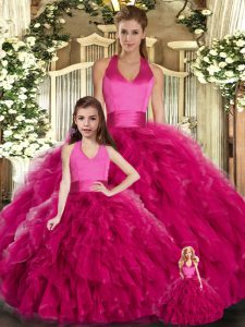 Graceful Fuchsia Halter Top Neckline Ruffles Sweet 16 Quinceanera Dress Sleeveless Lace Up