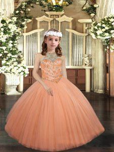 Affordable Halter Top Sleeveless Lace Up Pageant Gowns For Girls Peach Tulle