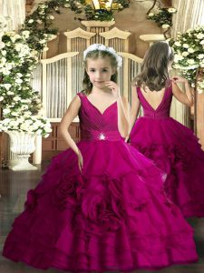 Floor Length Backless Little Girls Pageant Dress Wholesale Fuchsia for Party and Sweet 16 and Wedding Party with Beading