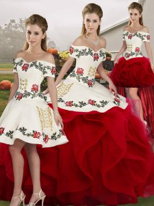 Admirable White And Red Tulle Lace Up Off The Shoulder Sleeveless Floor Length Vestidos de Quinceanera Embroidery and Ruffles
