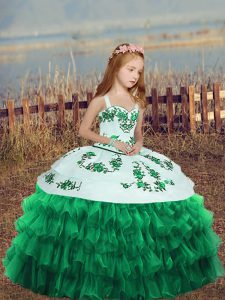 Turquoise Ball Gowns Straps Sleeveless Organza Floor Length Lace Up Embroidery and Ruffled Layers Kids Pageant Dress