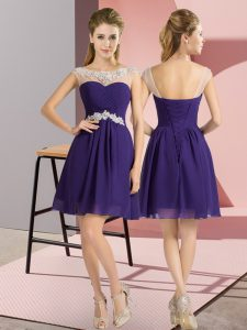 Chiffon Bateau Cap Sleeves Lace Up Beading Court Dresses for Sweet 16 in Purple