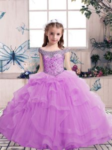 Lilac Lace Up Kids Pageant Dress Beading Sleeveless Floor Length