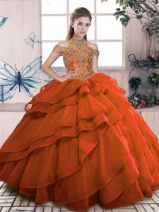 Fitting Sleeveless Lace Up Floor Length Beading and Ruffled Layers Quinceanera Dress