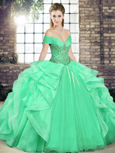 Custom Fit Off The Shoulder Sleeveless Organza Sweet 16 Dresses Beading and Ruffles Lace Up