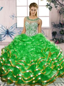 Green Sleeveless Floor Length Beading and Ruffles Lace Up Quinceanera Dress