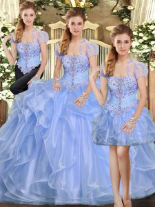 Sleeveless Lace Up Floor Length Beading and Ruffles Sweet 16 Dress