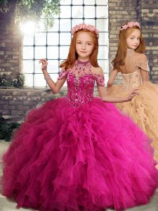 Beading and Ruffles Little Girls Pageant Dress Fuchsia Lace Up Sleeveless Floor Length