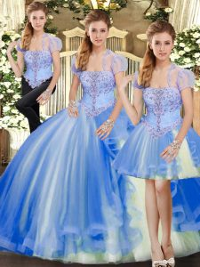 Perfect Floor Length Ball Gowns Sleeveless Blue 15 Quinceanera Dress Lace Up