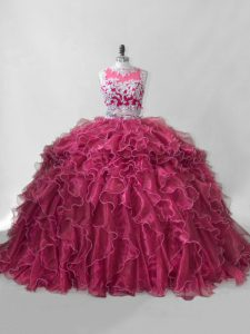 Wine Red Ball Gown Prom Dress Sweet 16 and Quinceanera with Beading and Ruffles Scoop Sleeveless Brush Train Zipper