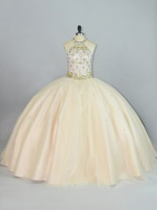 Beauteous Champagne Lace Up 15 Quinceanera Dress Beading Sleeveless Floor Length