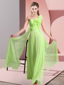 Fantastic Yellow Green Chiffon Lace Up Court Dresses for Sweet 16 Sleeveless Floor Length Hand Made Flower