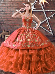 Sweet Sweetheart Sleeveless Satin and Organza 15 Quinceanera Dress Embroidery and Ruffled Layers Lace Up