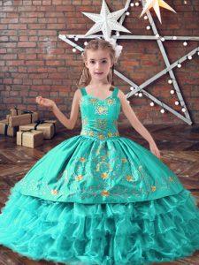 Turquoise Lace Up Child Pageant Dress Embroidery and Ruffled Layers Sleeveless Floor Length