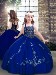 Latest Straps Sleeveless Lace Up Girls Pageant Dresses Royal Blue Lace