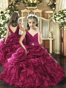Beautiful Organza Sleeveless Floor Length Little Girls Pageant Gowns and Beading and Ruffles and Pick Ups