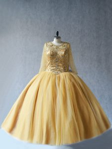Adorable Scoop Sleeveless Tulle Ball Gown Prom Dress Beading Lace Up