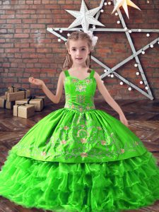 Custom Fit Sleeveless Satin and Organza Lace Up Kids Pageant Dress for Wedding Party