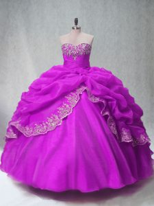 Fuchsia Sleeveless Beading and Appliques Floor Length Quinceanera Dress