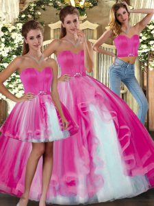 Fuchsia Ball Gowns Tulle Sweetheart Sleeveless Beading Floor Length Lace Up Sweet 16 Quinceanera Dress