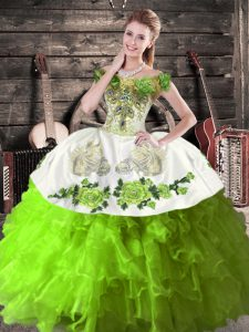 Charming Green Sleeveless Organza Lace Up Sweet 16 Quinceanera Dress for Sweet 16 and Quinceanera