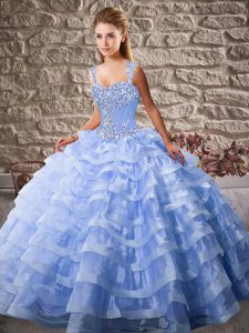 Lavender 15 Quinceanera Dress Organza Court Train Sleeveless Beading and Ruffled Layers
