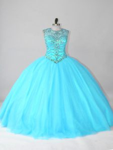 Elegant Beading Quinceanera Gown Aqua Blue Lace Up Sleeveless Floor Length