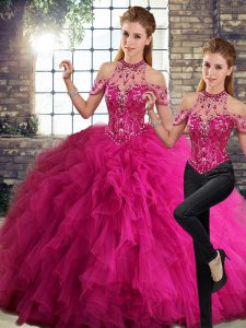 Perfect Fuchsia Halter Top Neckline Beading and Ruffles Sweet 16 Quinceanera Dress Sleeveless Lace Up