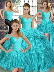 Aqua Blue Quince Ball Gowns Organza Brush Train Sleeveless Beading and Ruffles