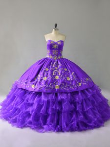 Fashion Purple Ball Gowns Sweetheart Sleeveless Organza Floor Length Lace Up Embroidery and Ruffles Party Dress