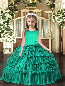 Turquoise Lace Up Little Girl Pageant Gowns Sleeveless Floor Length Ruffled Layers