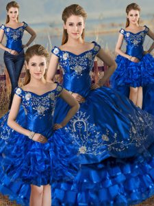 New Arrival Off The Shoulder Sleeveless Lace Up Quinceanera Gown Royal Blue Satin and Organza