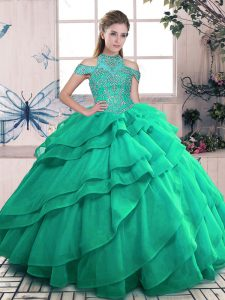 Turquoise Ball Gowns High-neck Sleeveless Organza Floor Length Lace Up Beading and Ruffles Quinceanera Dresses