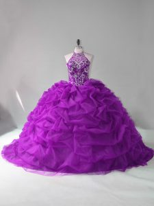 Excellent Purple Lace Up Quince Ball Gowns Beading and Pick Ups Sleeveless Court Train
