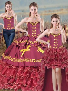 Chic Sleeveless Brush Train Lace Up Embroidery and Ruffles 15 Quinceanera Dress