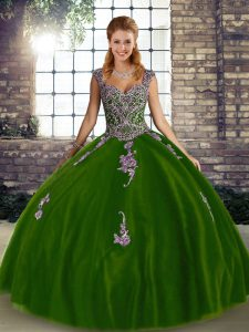 Olive Green Lace Up Straps Beading and Appliques Quinceanera Gown Tulle Sleeveless