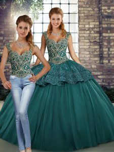 Flirting Green Lace Up Straps Beading and Appliques Quinceanera Dresses Tulle Sleeveless