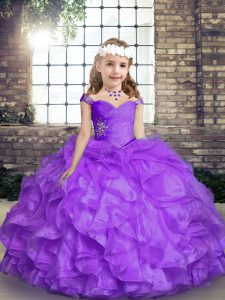 Beading and Ruffles Pageant Dress for Girls Lavender Lace Up Sleeveless Floor Length