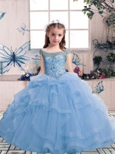 Sleeveless Tulle Floor Length Lace Up Little Girls Pageant Dress Wholesale in Light Blue with Beading and Ruffles