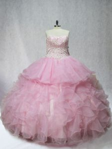 Shining Sleeveless Organza Floor Length Lace Up Vestidos de Quinceanera in Pink with Beading and Ruffles