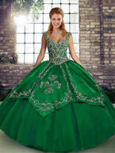 Luxury Straps Sleeveless Tulle Sweet 16 Quinceanera Dress Beading and Embroidery Lace Up