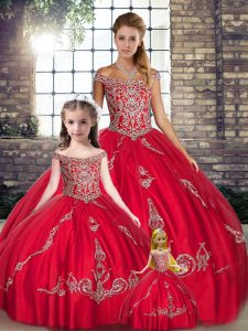 Perfect Red Sleeveless Beading and Embroidery Floor Length Quinceanera Gown