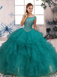 Free and Easy Sleeveless Floor Length Beading and Ruffles Zipper Ball Gown Prom Dress with Turquoise
