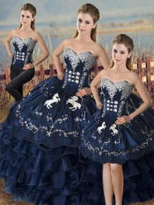 On Sale Navy Blue Organza Lace Up Sweet 16 Quinceanera Dress Sleeveless Floor Length Embroidery and Ruffles