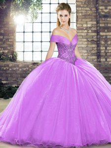 Sophisticated Organza Sleeveless 15th Birthday Dress Brush Train and Beading