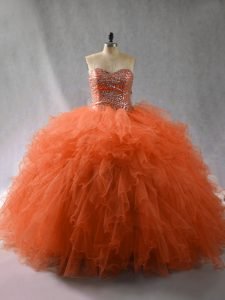 New Arrival Orange Red Ball Gowns Beading and Ruffles Quinceanera Dress Lace Up Tulle Sleeveless Floor Length