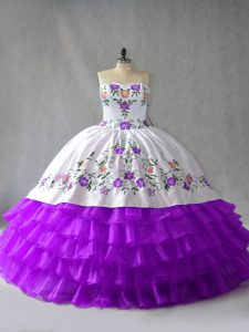White And Purple Lace Up Quinceanera Dress Embroidery and Ruffled Layers Sleeveless Floor Length