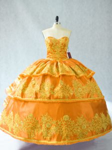 Sleeveless Organza Floor Length Lace Up Quinceanera Gown in Gold with Embroidery and Ruffled Layers